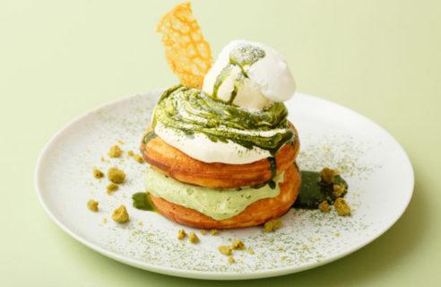 【天神店限定!】福岡産八女茶とマスカルポーネクリームのパンケーキ