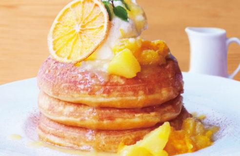 【6月限定!】白桃とパイナップルのパンケーキレモン カードソース
