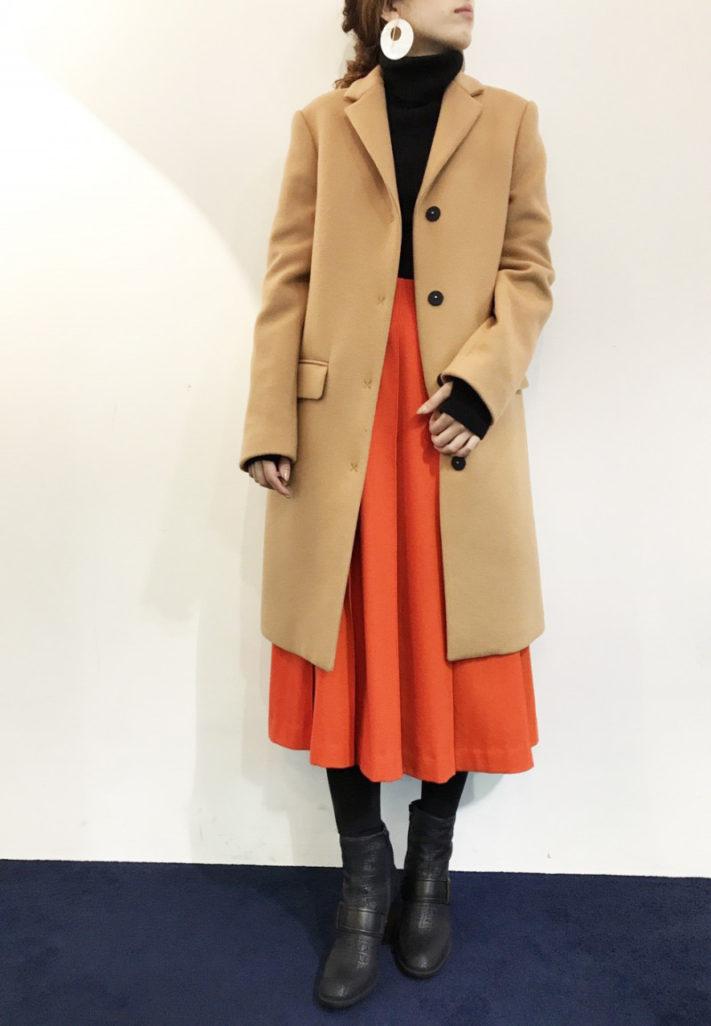 ENFOLD-ウールカシミアプリーツスカート